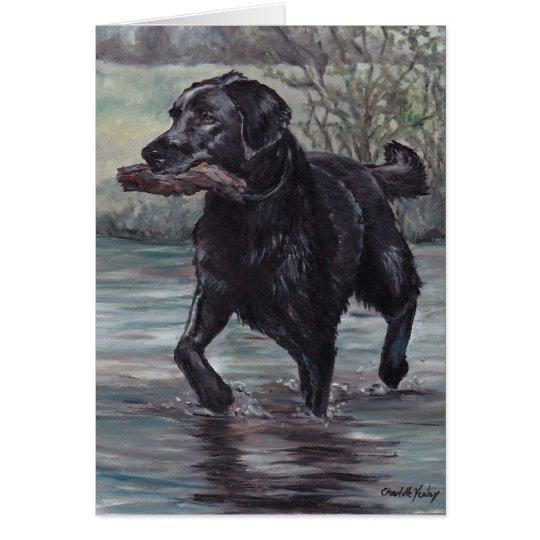 Fetch Labrador Retriever Dog Art Greeting Card