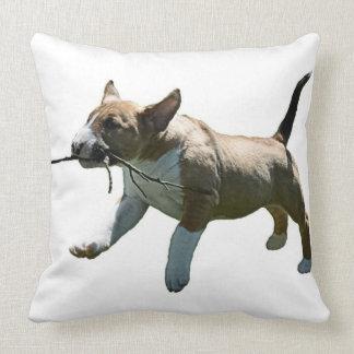 Fetching Bull Terrier Throw Pillow