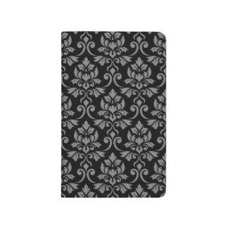Feuille Damask Big Pattern Gray on Black Journal