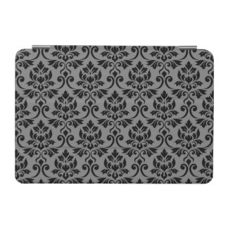 Feuille Damask (H) Pattern Black on Gray iPad Mini Cover