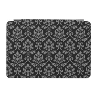 Feuille Damask (H) Pattern Gray on Black iPad Mini Cover
