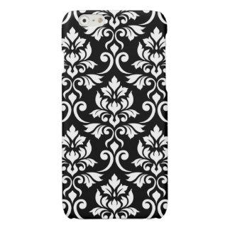 Feuille Damask Lg Pattern White on Black