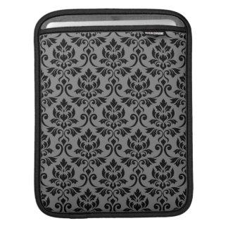 Feuille Damask Pattern Black on Gray iPad Sleeve