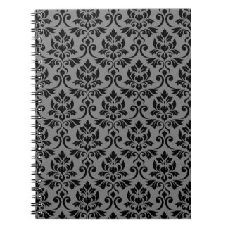 Feuille Damask Pattern Black on Gray Notebook