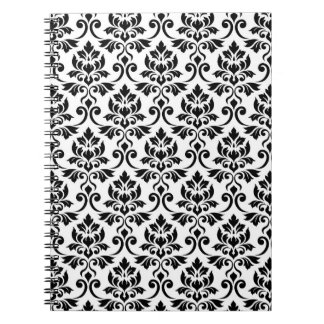 Feuille Damask Pattern Black on White Notebook