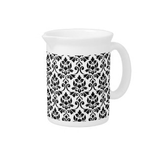 Feuille Damask Pattern Black on White Pitcher