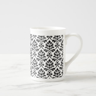 Feuille Damask Pattern Black on White Tea Cup