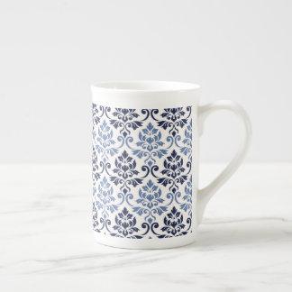 Feuille Damask Pattern Blues on Cream Tea Cup