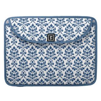 Feuille Damask Pattern Dark Blue on White Sleeve For MacBook Pro
