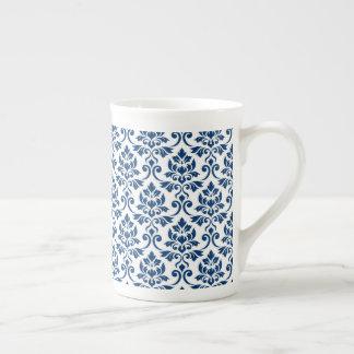 Feuille Damask Pattern Dark Blue on White Tea Cup