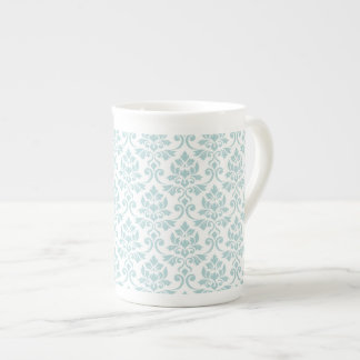 Feuille Damask Pattern Duck Egg Blue on White Tea Cup