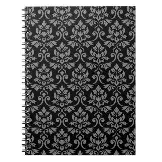 Feuille Damask Pattern Gray on Black Notebook