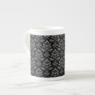 Feuille Damask Pattern Gray on Black Tea Cup