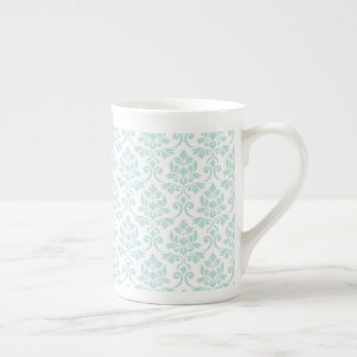 Feuille Damask Pattern Light Teal on White Tea Cup