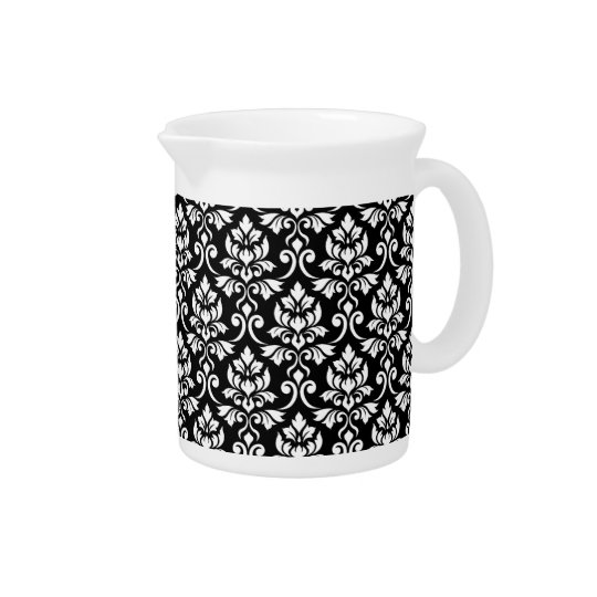 Feuille Damask Pattern White on Black Pitcher