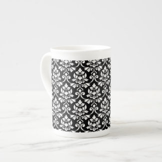 Feuille Damask Pattern White on Black Tea Cup