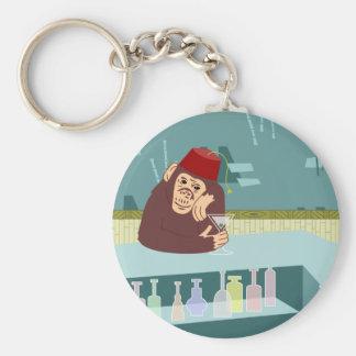 Fez Monkey Martini Bar Basic Round Button Key Ring