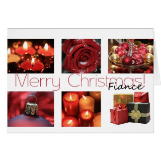 Fiance Christmas red, black & white Winter collage Card