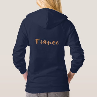 Fiance, engaged rose gold copper getting married hoodie