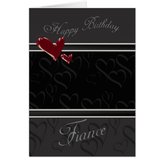 Fiance Happy Birthday card for male with hearts
