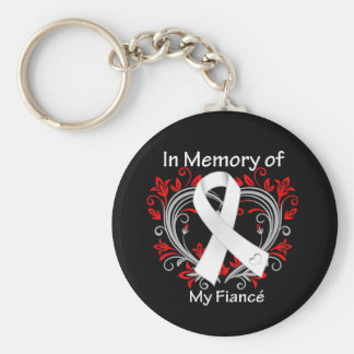 Fiance - In Memory Lung Cancer Heart Key Chain