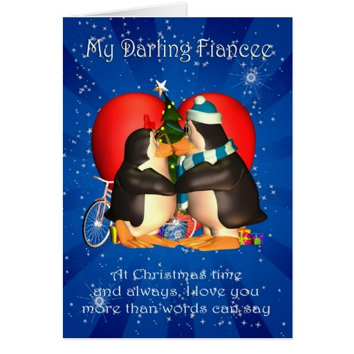 Fiancee Christmas Card With Kissing Penguins Heart