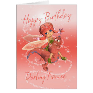 Fiancee Cute Birthday card, pink dragon with fairy Card