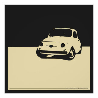 Fiat 500, 1959 - Cream on charcoal black Poster