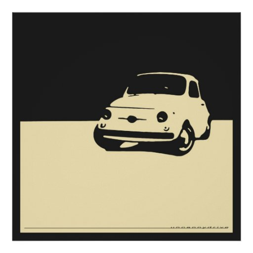 Fiat 500, 1959 - Cream on charcoal black Posters