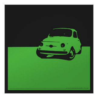 Fiat 500, 1959 - Green on charcoal black Poster