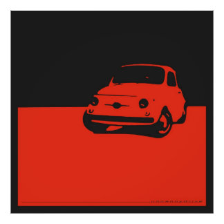 Fiat 500, 1959 - Red on charcoal black Poster