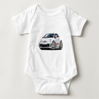 Fiat 500 Abarth White Car Baby Bodysuit