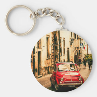 Fiat 500, Cinquecento in Italy Basic Round Button Key Ring