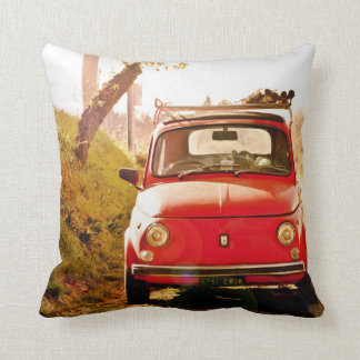 Fiat 500 in Italy, classic car cushion