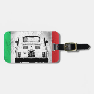 Fiat 500 in Italy, Italian Flag Luggage Tag