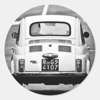 Fiat 500 in Rome, Italy Round Sticker
