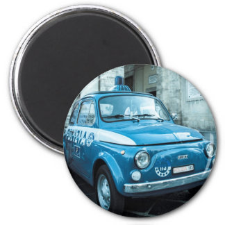 Fiat 500 Police car in Italy 6 Cm Round Magnet