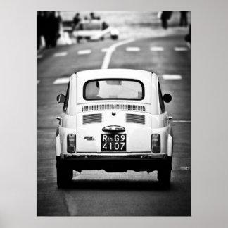 Fiat 500, vintage cinquecento, in Rome, Italy Poster