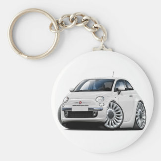 Fiat 500 White Car Basic Round Button Key Ring