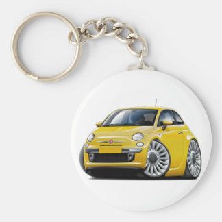 Fiat 500 Yellow Car Basic Round Button Key Ring