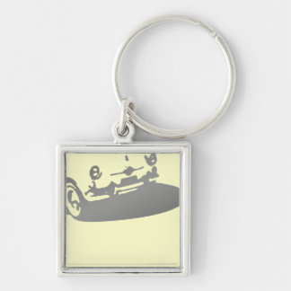 Fiat 600 Detail - Gray on light Key Ring