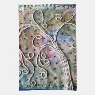 Fiber Art - Whimsical Willow Tree Tea Towel