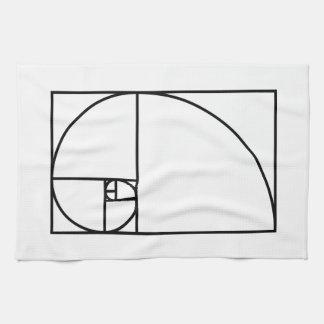 Fibonacci golden ratio - unique mathematical art tea towel
