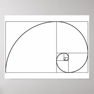 Fibonacci Spiral Golden Ratio Poster