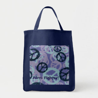 Fibro Fighter!-Tote Bag-Peace Signs Design Grocery Tote Bag