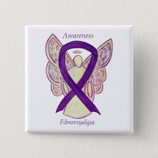 Fibromyalgia Awareness Angel Ribbon Custom Art Pin