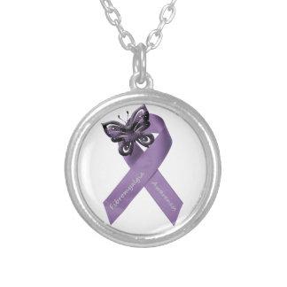 Fibromyalgia Butterfly Ribbon Necklace