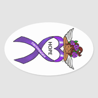 Fibromyalgia Ethnic Hope Angel Oval Sticker