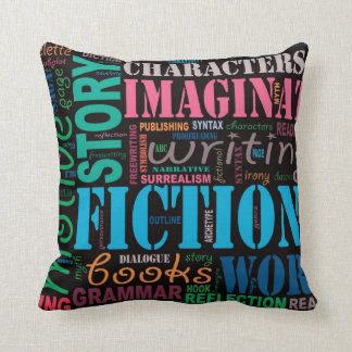 Fiction Writer's Word Art Throw Pillow