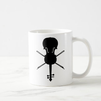 Fiddle and Cross-Bows (Skull and Crossbones) Basic White Mug